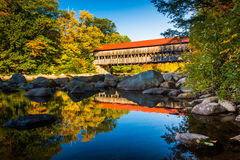 Albany Covered Bridge, along the Kancamagus Highway in White Mountain National Forest, New Hampshire. stock photos