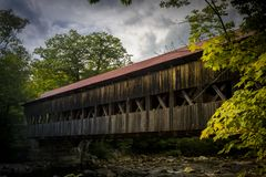 Albany covered bridge in the white mountains royalty free stock photo
