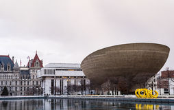 Albany Egg. Traditional and modern architecture meet in Albany NY at the Empire State Plaza Royalty Free Stock Image