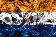 Albany miasta dymu flaga, Nowy Yor stan, Stany Zjednoczone Ameryka obraz royalty free