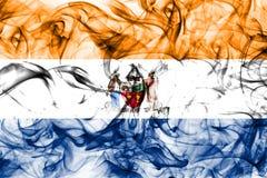 Albany miasta dymu flaga, Nowy Yor stan, Stany Zjednoczone Ameryka obrazy stock