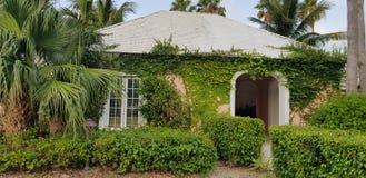 ALBANY, NASSAU BAHAMAS, LIPIEC - 17, 2018 Kurortu tunelu wejściowa pokrywa rośliny i bluszcz tropikalni i egzot obraz royalty free