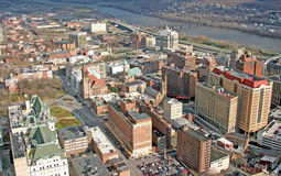 Albany, New York. On Hudson River from Twin Towers observation deck Royalty Free Stock Photo