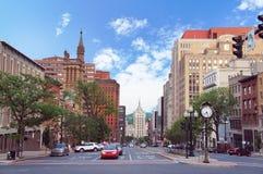 Albany New York huvudstad, gatasikt Arkivbilder