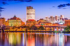 Albany, New York, USA. Skyline on the Hudson River Royalty Free Stock Photo