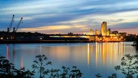 Albany NY del puerto de Renssalear a través de Hudson River Imágenes de archivo libres de regalías