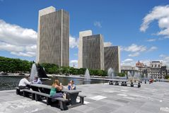 ALBANY, NY - Empire State Plaza. Is an impressive array of government buildings, where workers can relax outdoors during their lunch break Stock Photos