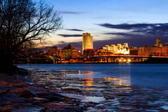Albany NY view from the Rennsaeler boat dock on an icy night Royalty Free Stock Photo