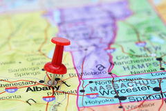 Albany pinned on a map of USA Royalty Free Stock Photos