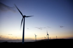 Albany Wind Farm. Sunset at Albany Wind Farm, near the town of the same name in Western Australia Stock Photo