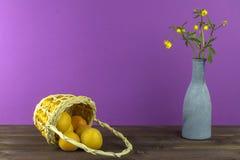 Albaricoques en la cesta Florero con los wildflowers en un fondo púrpura Humor del verano Fotos de archivo