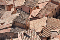 albarracin中世纪屋顶spai teruel城镇 免版税库存照片