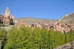 albarracin中世纪西班牙teruel城镇 免版税库存照片