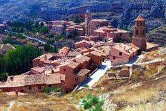 Albarracin全视图  免版税库存照片