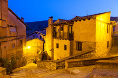 Общий вид Albarracin в вечере Стоковое Фото