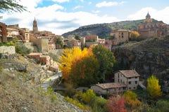 Albarracin Aragon, Spanien Flyg- sikt av den medeltida staden Albarrac Royaltyfri Foto