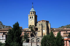 Albarracin (Teruel) Aragon Province - Spain. Church of Santa María de Albarracín and views of the population - Albarracin (Teruel) Spain Royalty Free Stock Photo