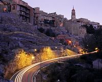 Albarracin town at dusk. Royalty Free Stock Image