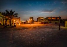 Albastakiya在晚上迪拜 库存图片