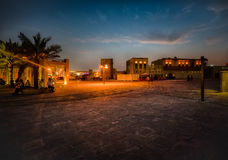 Albastakiya alla notte Dubai Immagine Stock
