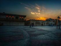Albastakiya i solnedgång Arkivbild