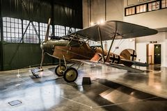 Albatros D.Va Replica at RAF Museum. German D.Va replica with original Mercedes D.III engine at Royal Air Force Museum London. Replica Build in New Zealand by stock images