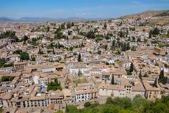 Albayzin社区的都市风景在阿尔罕布拉宫宫殿,格拉纳达,西班牙附近的 免版税库存照片