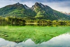 Albeggi nel lago Hintersee in alpi, Germania, Europa Immagine Stock Libera da Diritti