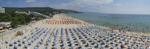 Albena从上面海滩视图,保加利亚 库存照片