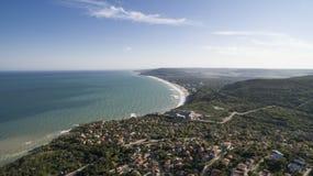 Albena从上面海滩视图,保加利亚 免版税库存照片