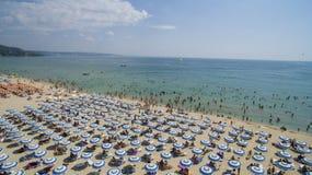 Albena从上面海滩视图,保加利亚 免版税库存图片