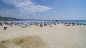 Albena从上面海滩视图,保加利亚 免版税图库摄影