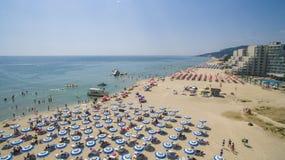 Albena Beach View van hierboven, Bulgarije Stock Afbeeldingen