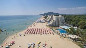 Albena Beach View van hierboven, Bulgarije Stock Foto