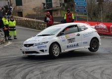 Free Albenga Italy - A Honda Civic RS 2000 Racing Car On Three Wheels Stock Photography - 139152602