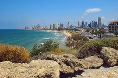 Alberghi di lusso e spiaggia, telefono Aviv-Yafo, Israele Fotografia Stock Libera da Diritti