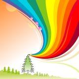 Alberi alpini - serie astratta della matita del Rainbow Fotografia Stock Libera da Diritti