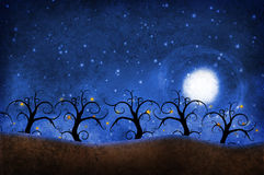 Alberi con le stelle Fotografia Stock Libera da Diritti