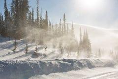 Alberi coperti di hoarfrost e di neve in montagne I raggi del ` s del sole illuminano gli alberi immagini stock