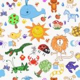 Alberi degli animali di scarabocchio del disegno dei bambini e modello senza cuciture del sole illustrazione vettoriale
