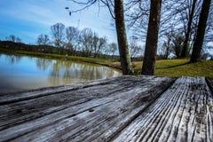 Alberi del lago di picnic di koa della Virginia dell'Ovest fotografie stock