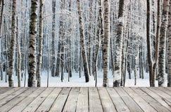 Alberi della tavola e di betulla del bordo di legno Fotografia Stock