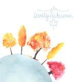 Alberi di autunno dell'acquerello fatti nel vettore Fotografie Stock