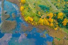 alberi di autunno e lago blu Fotografia Stock
