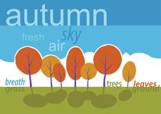 Alberi di autunno in parco. Paesaggio del fumetto di vettore. Fotografia Stock