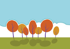 Alberi di autunno in parco. Paesaggio del fumetto di vettore. Fotografie Stock