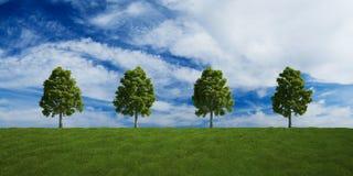alberi di estate di riga delle nubi royalty illustrazione gratis