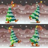 Alberi di Natale che ballano in natura in stivali rossi Immagini Stock
