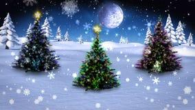 Alberi di Natale che crescono nel paesaggio nevoso illustrazione vettoriale