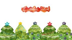 Alberi di Natale con l'iscrizione cartolina royalty illustrazione gratis